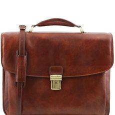 "Tuscany Leather Alessandria laptoptas 15,6"" bruin"