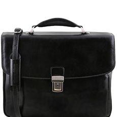 "Tuscany Leather Alessandria laptoptas 15,6"" zwart"