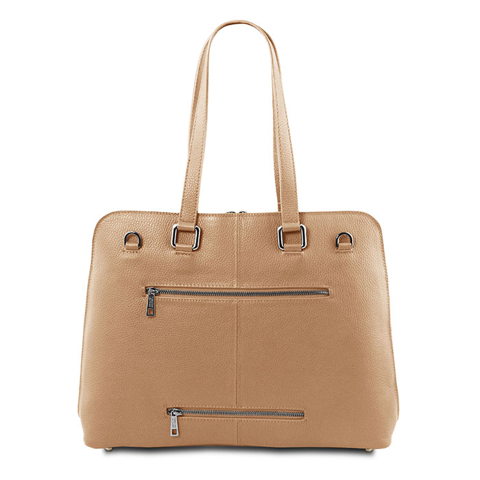 Tuscany Leather Lucca leren dames laptoptas champagne