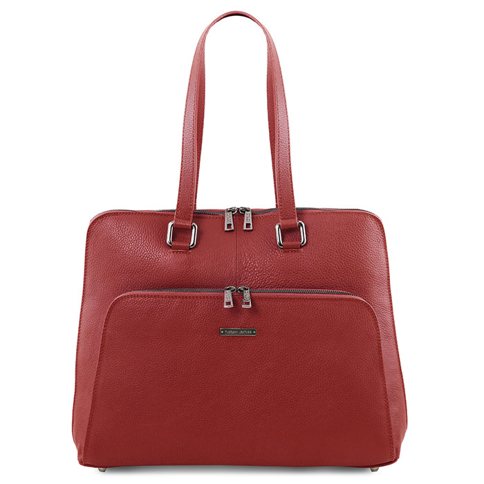 Tuscany Leather Lucca leren dames laptoptas rood