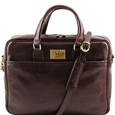 "Tuscany Leather Urbino leren laptoptas 15,6"" donkerbruin"